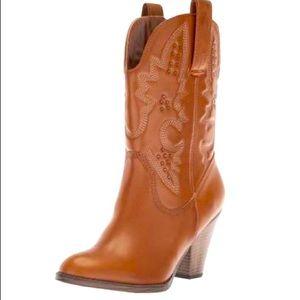 "MIA - ""Larue"" Heeled Cowgirl Boot - Cognac"